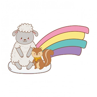 Cute animals in the clouds with rainbow woodland characters