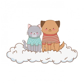 Cute animals in the clouds woodland characters