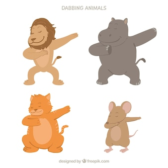 Cute animals collection doing dabbing