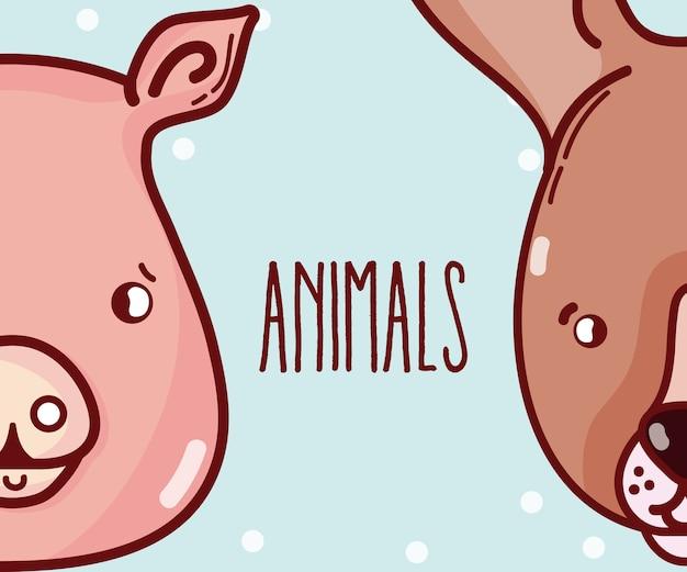 Симпатичные животные пара мультяшный векторная графика графический дизайн