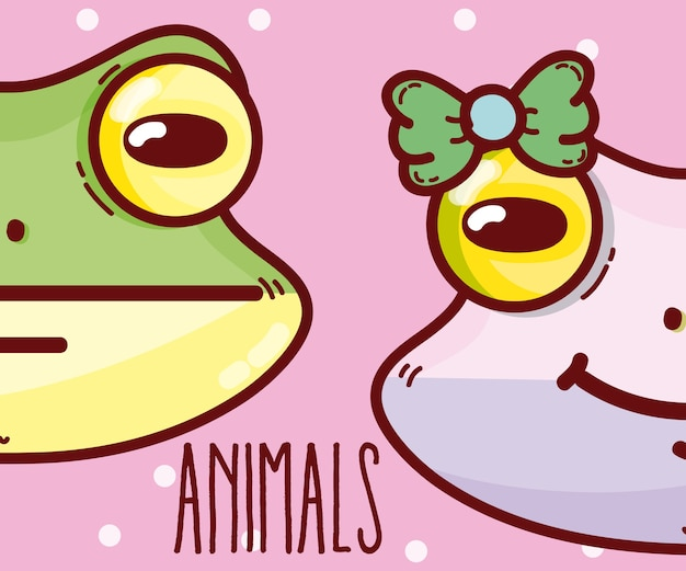 Cute animals couple cartoons vector illustration graphic design