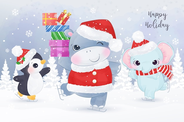 雪の中で踊るかわいい動物。クリスマスグリーティングカードのイラスト。
