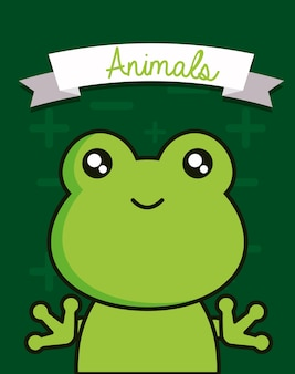 Cute animals design with frog face background