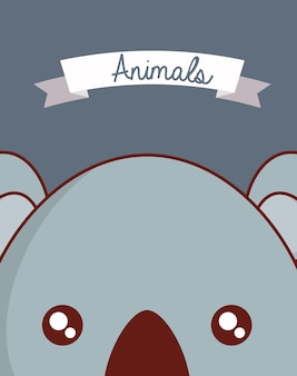Cute animals design with koala  face background