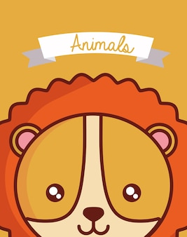 Cute animals design with lion face background