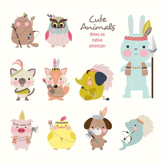 Cute animals dress as native american