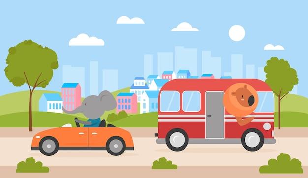 Симпатичные животные водят машину и автобус по городской улице лев за рулем автобуса смешной слон путешествует