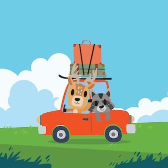 차를 운전하는 귀여운 동물. 여행 일러스트