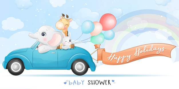 Cute animals driving a car with watercolor illustration