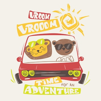 Cute animals driving, print design for apparel.