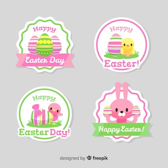 Cute animals easter badge collection