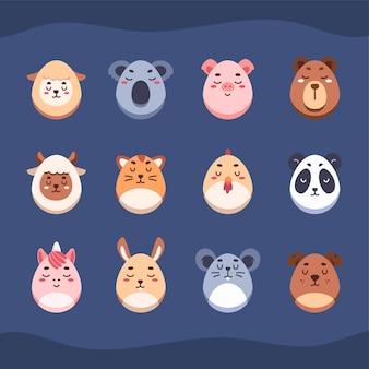 Cute animals in easter eggs illustrations
