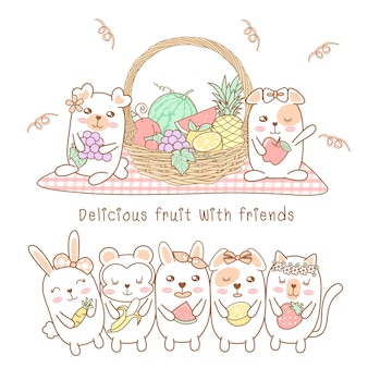 Cute animals eat delicious fruit with friends