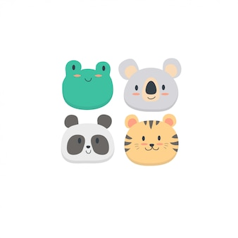 Cute animals face collection