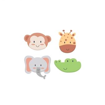 Cute animals face set