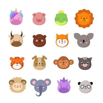 귀여운 동물 얼굴. 개와 고양이, 소와 여우, 유니콘과 팬더. 동물 아이 이모티콘. 귀여운 동물원 벡터 컬렉션