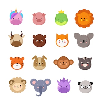 Cute animals faces. dog and cat, cow and fox, unicorn and panda. animal kid emoji. kawaii zoo vector collection