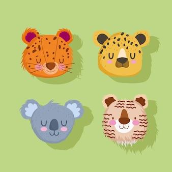 Набор милых лиц животных