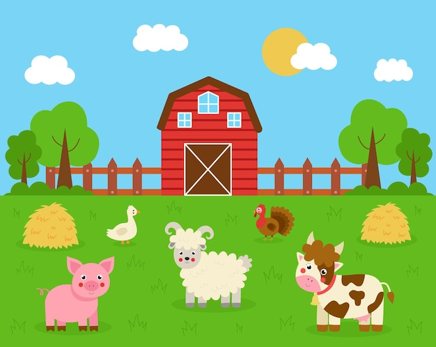 Cute animals in the farm background. farmhouse and haystacks. cartoon cow, turkey, pig, sheep and goose.