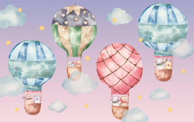 熱気球で飛んでいるかわいい動物、白い背景で隔離のかわいい水彩画の子供のイラスト