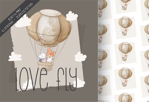 Cute animals flying with air balloon seamless pattern