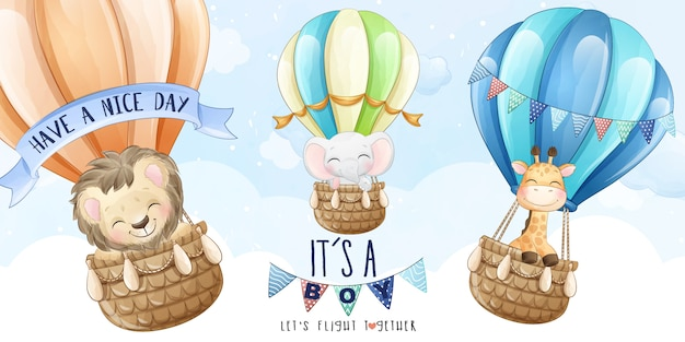 Cute animals flying with hot balloon in the sky illustration