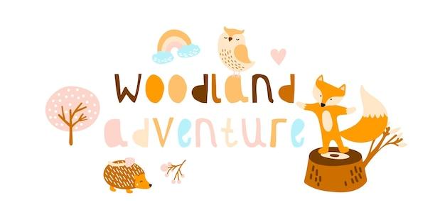 Cute animals. fox, hedgehog and owl in woodland.