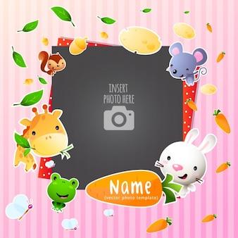 Cute animals on a frame