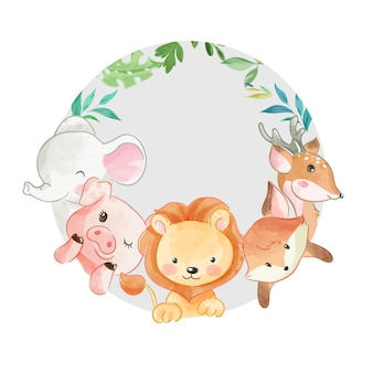 Cute animals friend in cirlcle shape illustration