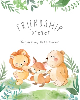 Cute animals friendship walking illustration