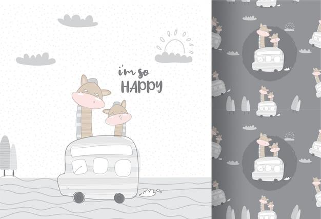 Cute animals giraffe traveling by bus seamless pattern