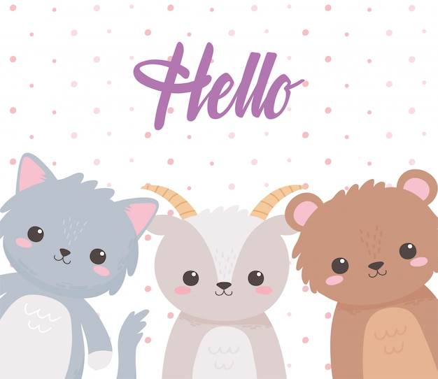 Симпатичные животные, коза, медведь и кошка, привет, надпись, мультяшная карта, векторная иллюстрация