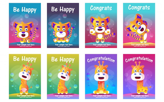Cute animals greeting cards set