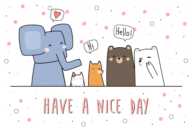 Cute animals greeting cartoon doodle banner wallpaper