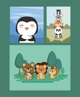 풍경 장면에서 귀여운 동물 그룹
