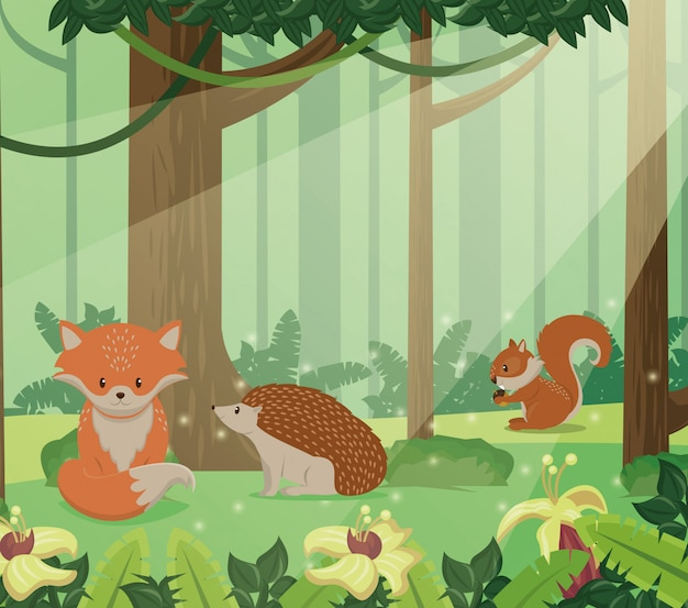 Cute animals group in landscape scene vector illustration design