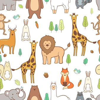 Cute animals hand drawn seamless pattern background