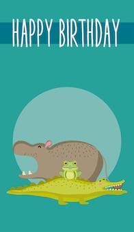 Cute animals happy birthday card cute cartoon