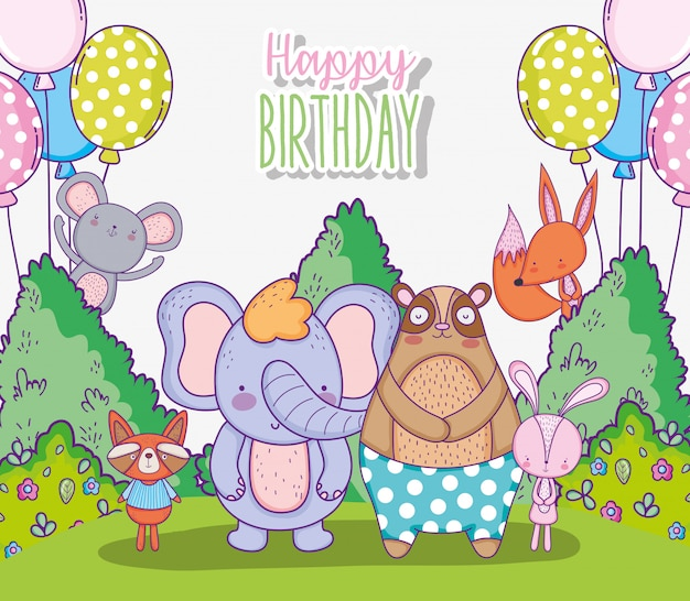 Cute animals happy birthday celebration