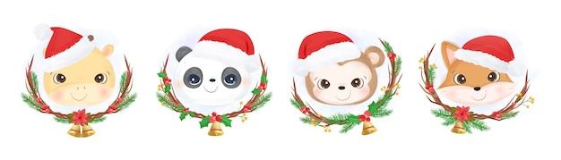 Cute animals head wearing santa hat for christmas decoration