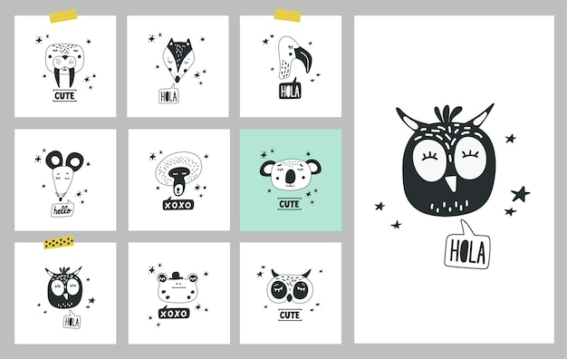 Cute animals heads, set of illustrations. cards with hand drawn faces of animals
