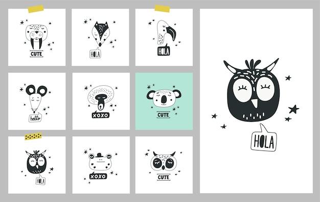 귀여운 동물 머리, 삽화 세트. 동물의 손으로 그린 얼굴 카드