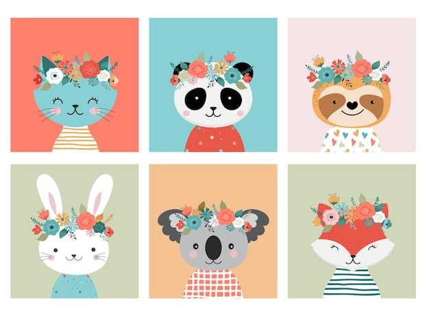 Cute animals heads with floral crown