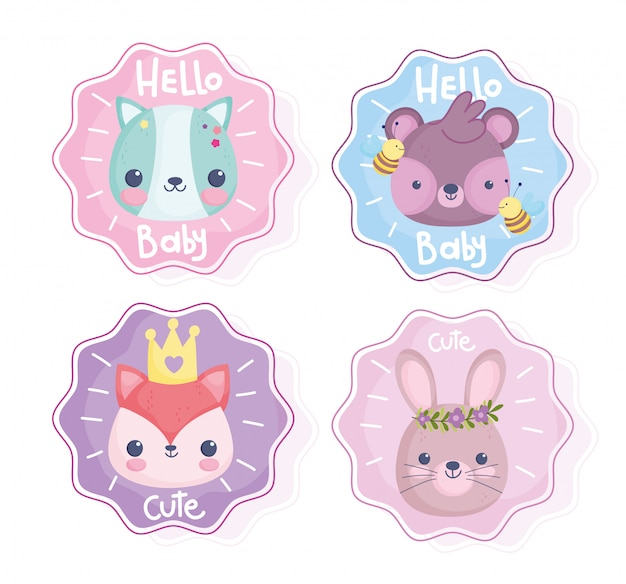 Cute animals, hello baby little rabbit bear fox cat bee stickers
