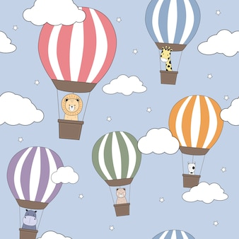 Cute animals hot air balloon cartoon doodle seamless pattern