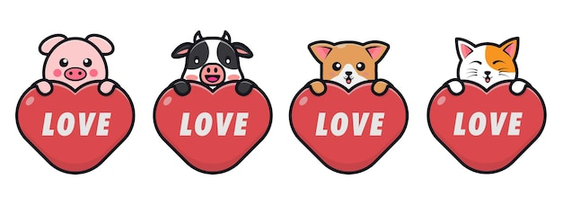 Cute animals hug red hearts for valentines day