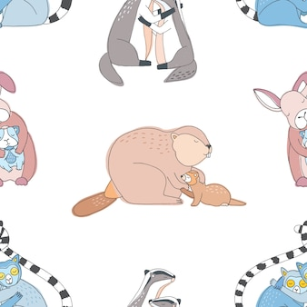 Cute animals hugs seamless. colorful hand drawn pattern.