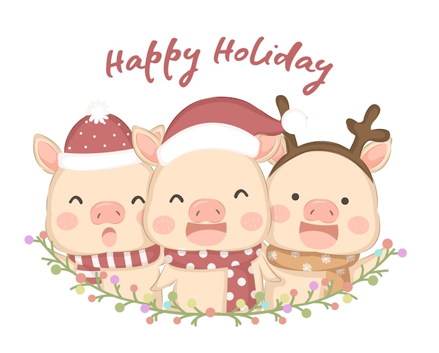 Cute animals illustration for holiday season