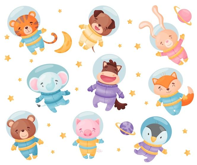 宇宙飛行士の衣装を着たかわいい動物。虎、犬、象、野ウサギ、馬、キツネ、白い背景の上のクマ豚ペンギンイラスト