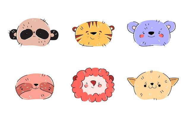 手描きスタイルのかわいい動物、パンダ、ライオン、クマ、ナマケモノ